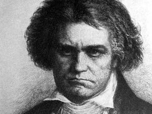 Beethoven- Brahms was a little scared of him, but Schumann was not. Schumann probably never saw this picture…