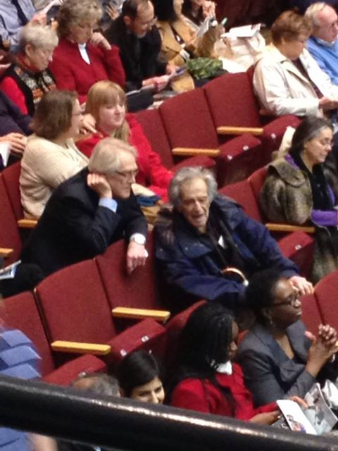 Two beloved mentors, Jim Smith and Marvin Rabin, chatting at the UW Madison Symphony concert, November 2, 2013