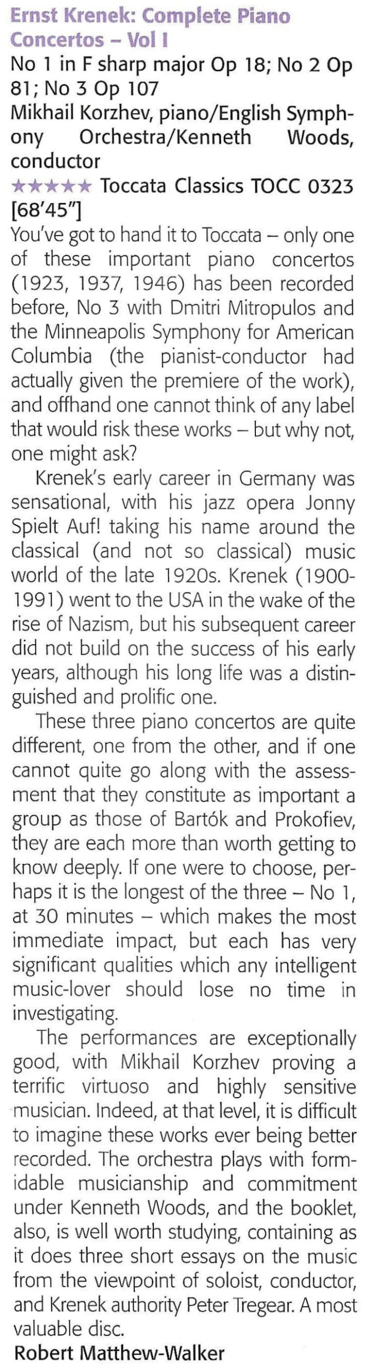 Musical Opinion Review Krenek Piano Concertos Vol 1